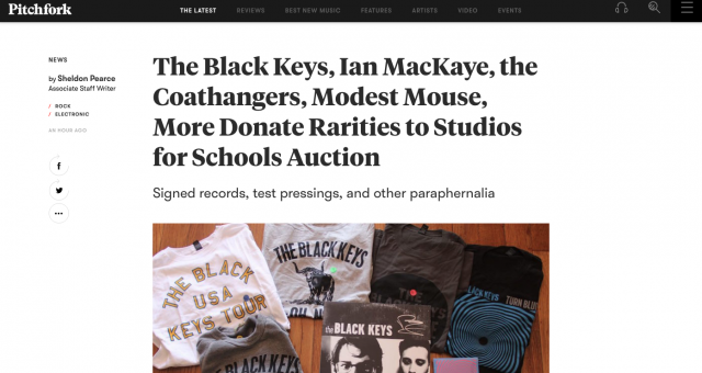 Pitchfork Supports Studios For Schools!